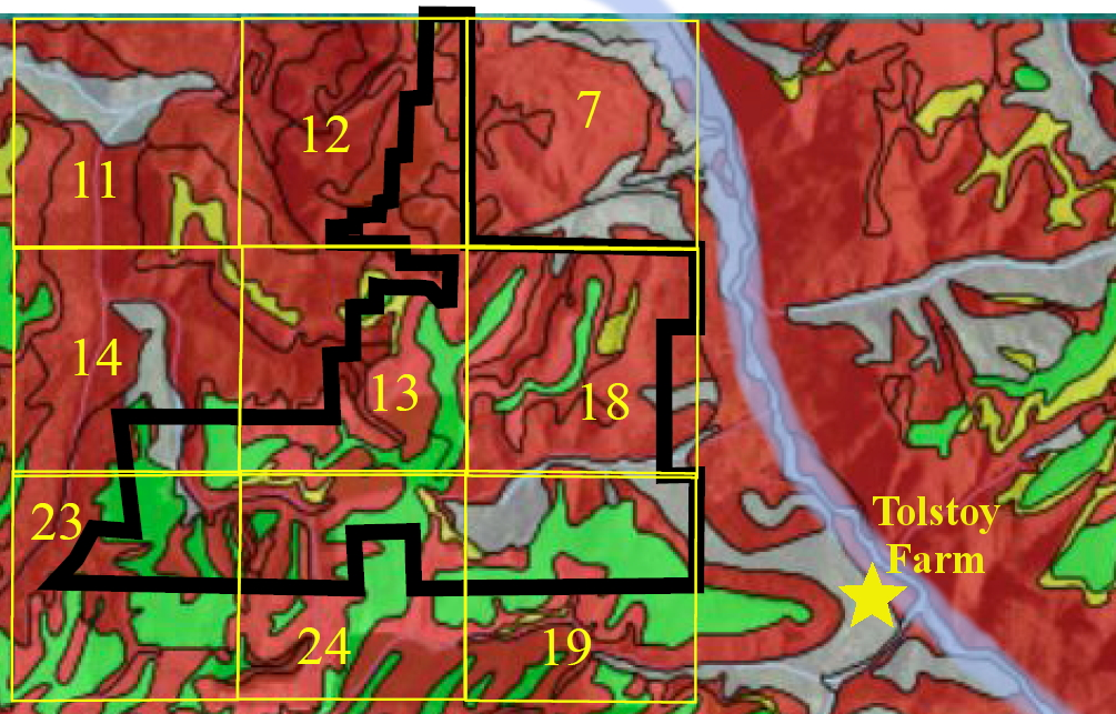 This map shows Rosman Farm areas (black outline) and section numbers (yellow  numbers) of sections where sludge could be applied.
