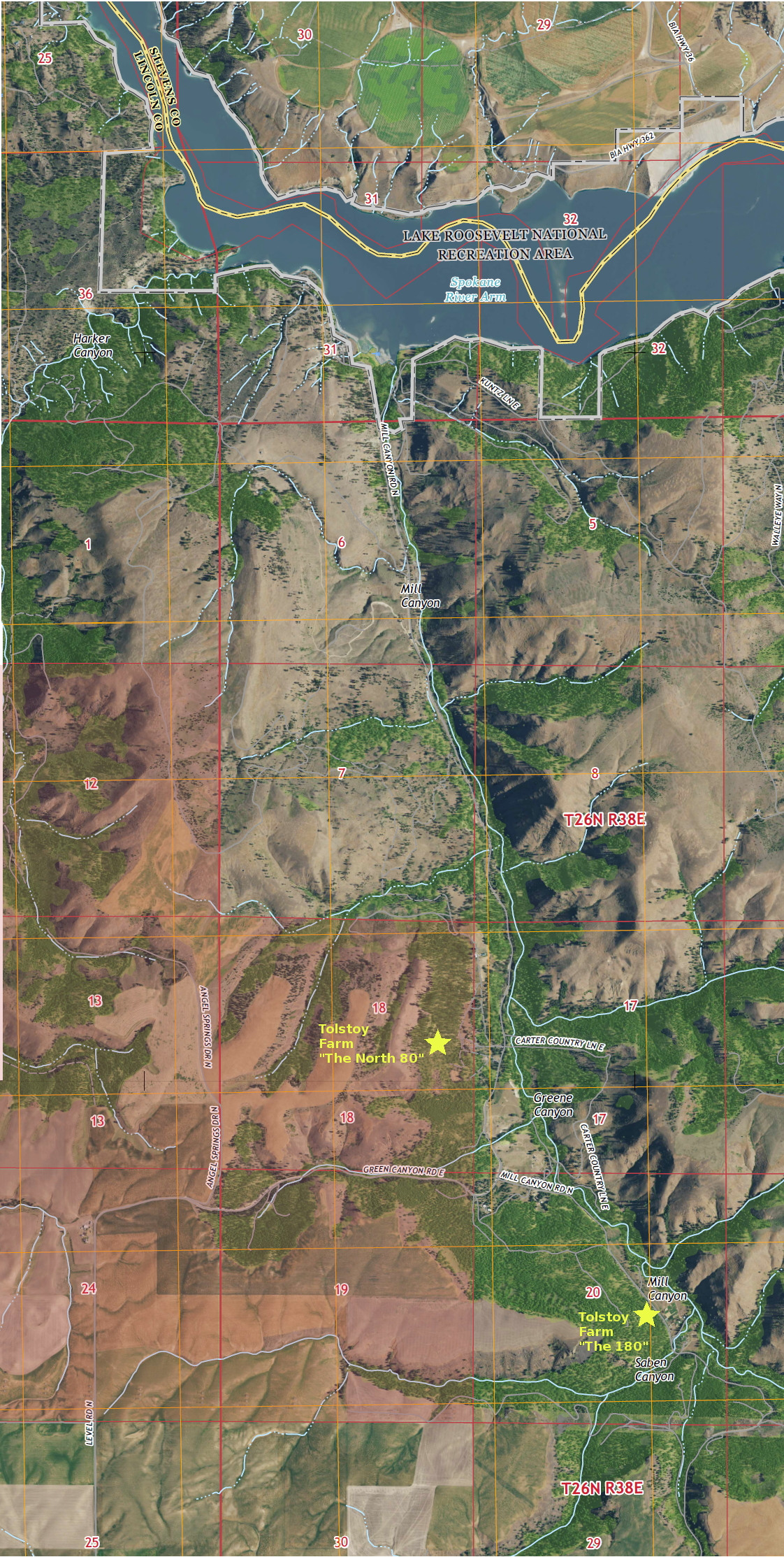 Map of Mill Canyon Watershed showing sections threatened with sewage sludge application.
